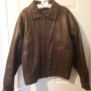 Vintage Deep Green Leather Bomber Quilted Jacket